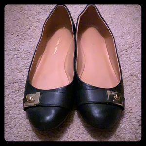 Black Tommy Hilfiger Flats with Gold Buckle